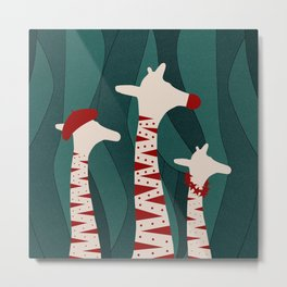 Giraffes Family Holiday Design Metal Print