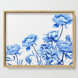 blue peonies 2 Serving Tray