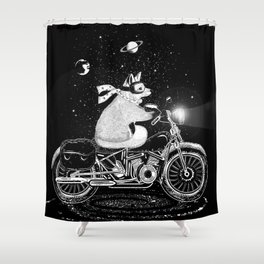 A fox rides a motorcycle Shower Curtain
