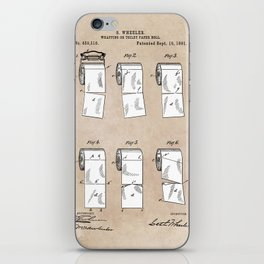 patent - Wheeler - Wrapping or Toilet paper roll - 1891 iPhone Skin