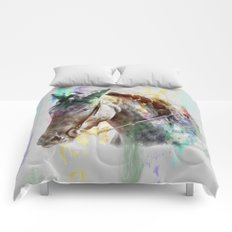 Watercolor Horse Portrait Comforters