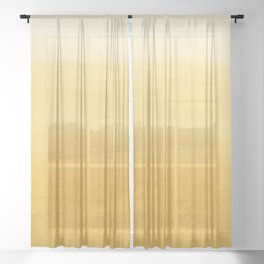Yellow Marigold_Abstract Brush Strokes Painting collection Sheer Curtain