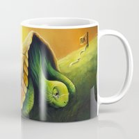 neil gaiman Mugs featuring Tortoise and the Hare, by Neil Price by Neil Price