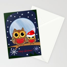 Cute Christmas Owls & Text Stationery Cards