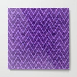 Rich Royal Purple Velvety Zigzag Pattern Metal Print