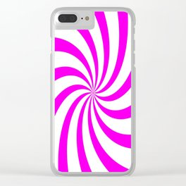 Spiral (Magenta & White Pattern) Clear iPhone Case