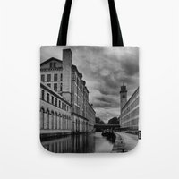 regina mills Tote Bags featuring Yorkshire Mills by Sandra Cockayne Photography