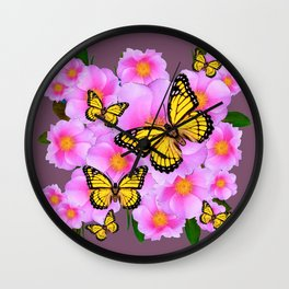 PINK ROSES YELLOW MONARCH PUCE ART Wall Clock
