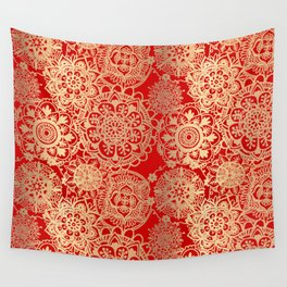 Red and Gold Mandala Pattern Wall Tapestry