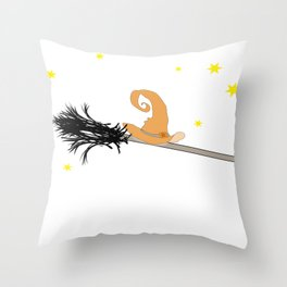 Witch Hat & broom Throw Pillow