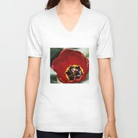 tulip V-neck T-shirts featuring Tulip by Charlene McCoy