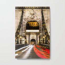 Budapest Chain Bridge Metal Print