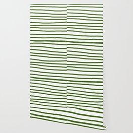 Simply Drawn Stripes in Jungle Green Wallpaper