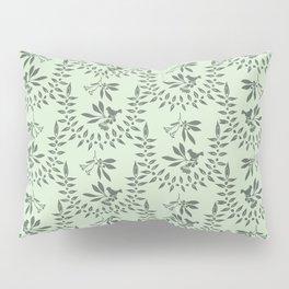 Green Nature Olive Leaf Berry Birds Branch Pillow Sham