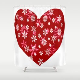 Red Heart Of Snowflakes Loving Winter and Snow Shower Curtain