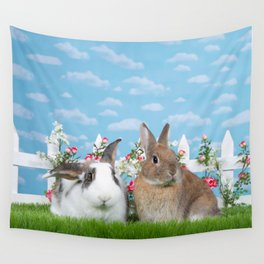 Bunny Love two rabbits in a flower garden Wall Tapestry