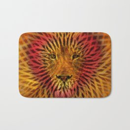 Abstract Design of a Lion with a Heart with Geometric Zebra Stripes Bath Mat