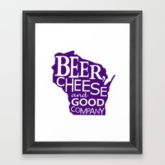 Purple and White Beer, Cheese and Good Company Wisconsin Graphic Framed Art Print