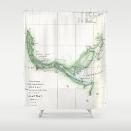 Vintage Map of The Savannah River (1854) Shower Curtain