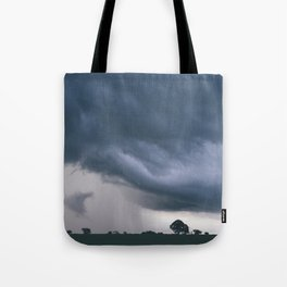 Evening thunder storm and clouds over rural scene. West Acre, Norfolk, UK. Tote Bag