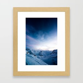 Sunrise view from Diavolezza towards the Bernina Valley, Engadin, Switzerland Framed Art Print