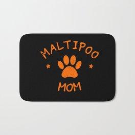 Maltipoo Mom Distressed Text And Paw print Bath Mat