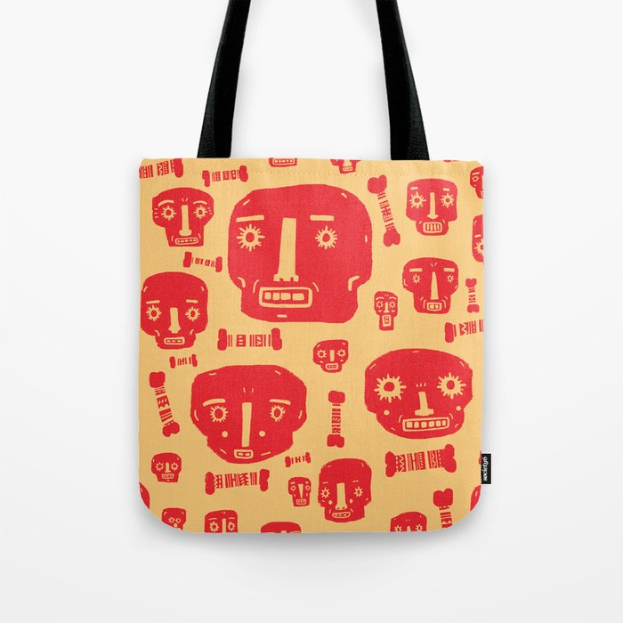 Skulls & Bones - Red/Yellow Tote Bag