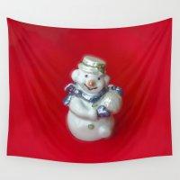 snowman Wall Tapestries featuring Snowman  by Svetlana Korneliuk