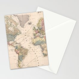 Vintage Map of The World (1852) Stationery Cards