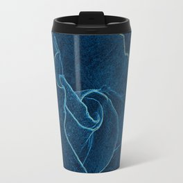blue rose contour Travel Mug
