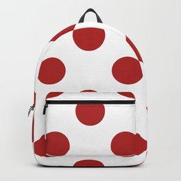Large Polka Dots - Firebrick Red on White Backpack