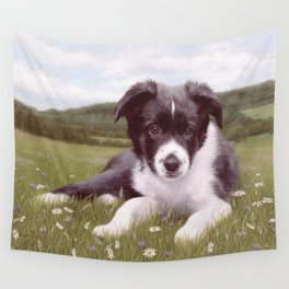 Border Collie Puppy Painting Wall Tapestry