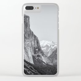 El Capitan, Half Dome and Sentinel Rock from Tunnel View bw Clear iPhone Case
