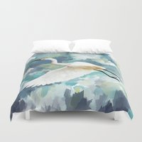 florida Duvet Covers featuring Florida Egret by Freeminds
