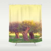 men Shower Curtains featuring old men by Die Farbenfluesterin