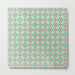 8 Bit Mexican Flower Pattern Metal Print