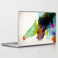 contemporary Laptop & iPad Skins featuring Bird standing on a tree by contemporary