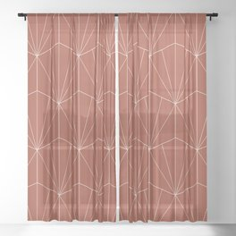 Gisela Geometric Line Pattern - Pomegranate Red Sheer Curtain
