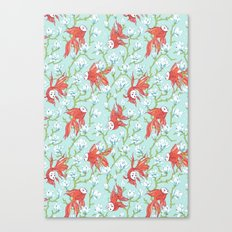 Goldfish, Mask and Magnolia Pattern Canvas Print