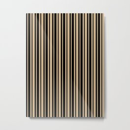 Tan Brown and Black Vertical Var Size Stripes Metal Print