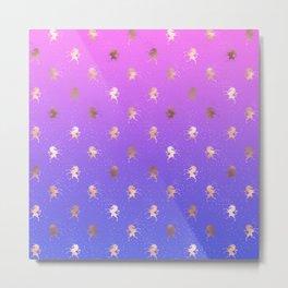 Pink Purple Blue Gradient With Rose Gold Unicorn Pattern Metal Print