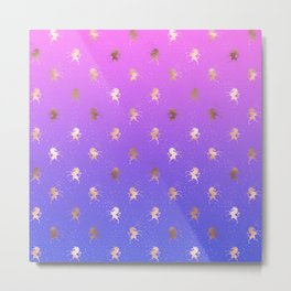 Pink Purple Blue Gradient With Rose Gold Unicorn Pattern Metal Print