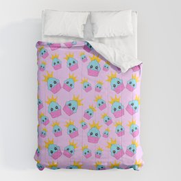 cute blue and pink cupcakes with golden crown baby junior pattern design Comforters