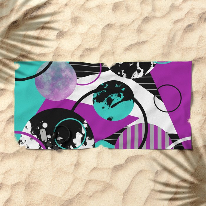 Eclectic Geometric (Abstract blue, purple, black, white) Beach Towel