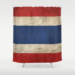 Old and Worn Distressed Vintage Flag of Thailand Shower Curtain