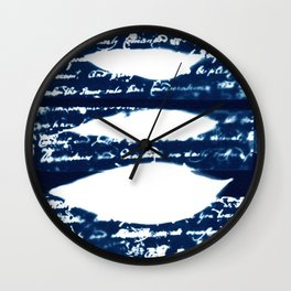 Fragments of the Past (30), art print, collage, blue print, cyanotype print, wall art, wall decor Wall Clock