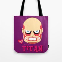 attack on titan Tote Bags featuring My Little Titan by TheBeardedPen