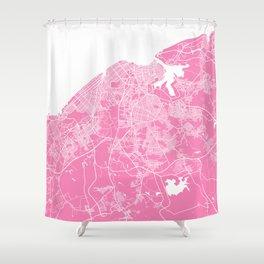 La Habana map pink Shower Curtain