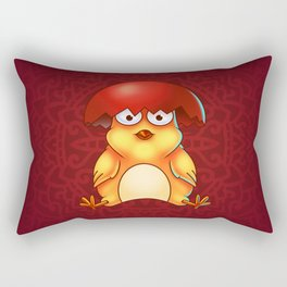 Easter Chicken with Egg Shell on its Head - Digital Painting Rectangular Pillow