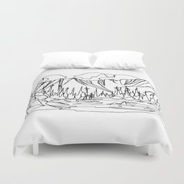 Ice Creek Lake, Valhallas :: Single Line Duvet Cover